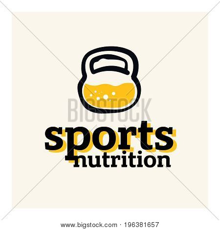 Sports nutrition logo concept. Protein inside the kettlebell concept.