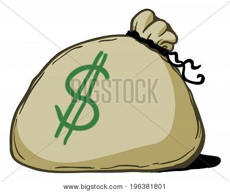 Money bag cartoon color drawing, vector illustration, over white