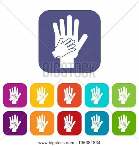 Parent and child hands together icons set vector illustration in flat style in colors red, blue, green, and other