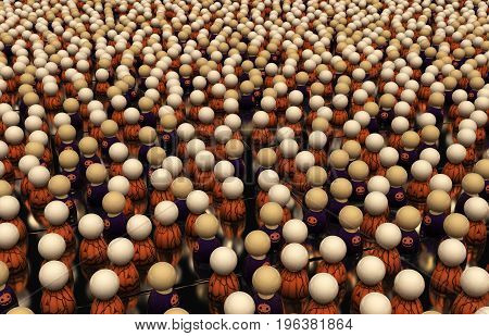 Crowd of small symbolic figures Halloween theme 3d illustration horizontal