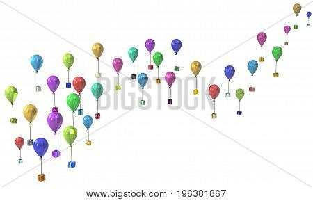 Gift large group 3d illustration party balloon flying presents line horizontal over white