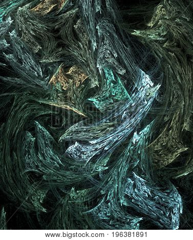 Blue fantasy wood texture colored abstract vertical over black background