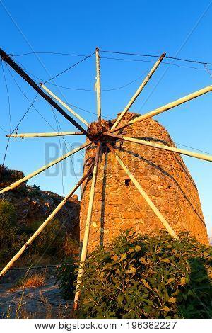 Ancient wind mills near Lasithi plateau Crete, Greece