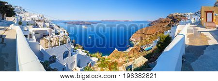 Fira panorama with caldera view and Nea Kameni, Santorini, Greece