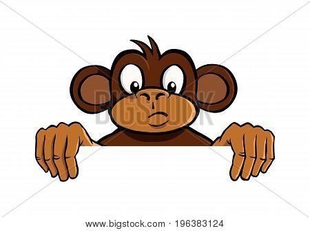 Curious cartoon monkey holding up an invisible frame