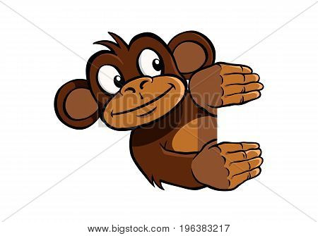 Smiling cartoon monkey holding up an invisible frame