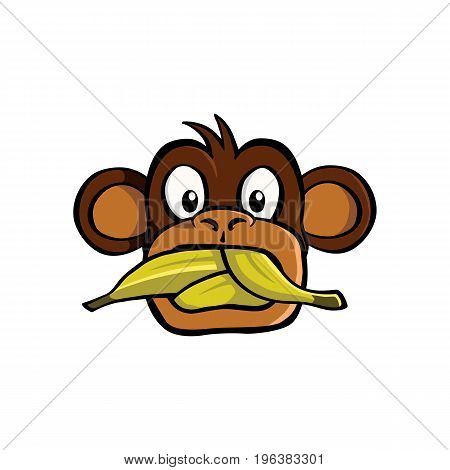 Speak no evil monkey with a mouth stuffed with bananas