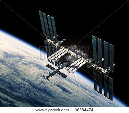Flight Of International Space Station Over The Hurricane. 3D Illustration.