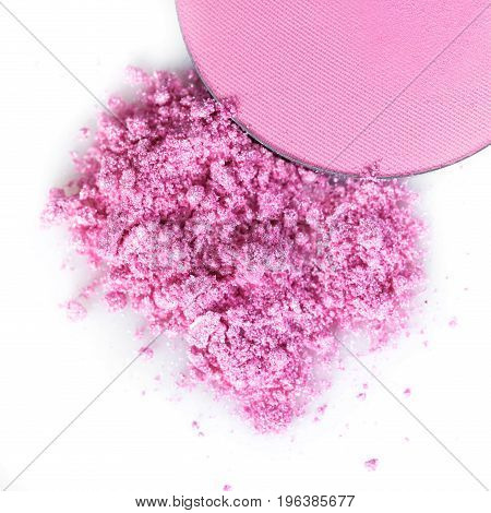 Crushed pink eye shadow Or blush isolated on the white background