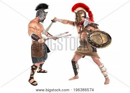 Ancient warriors or Gladiators fighting isolated in white