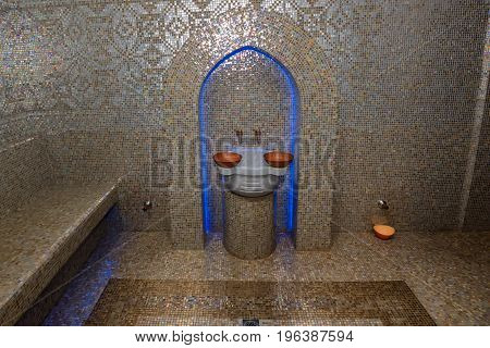 Traditional styled luxurious Turkish bath or hamam at spa area