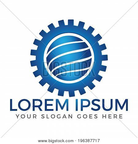 Globe and gear logo design. Education, industrial, science and technology icon.