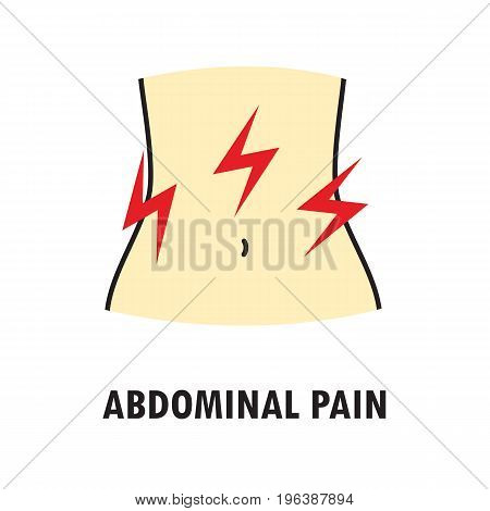 Abdominal pain or stomach-ache. Logo or icon template in colored linear style isolated on white background. Eps10