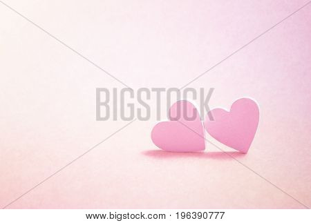 Valentine's Day greeting card. Two pink hearts. 3D illustration