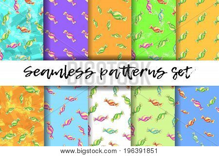 Seamless pattern set colorful candies. Textiles and background applications. Vector illustration