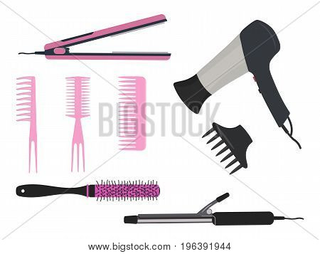 Hair dryer, a curling iron and different types of pink hair brushes on a white background. Vector illustration.