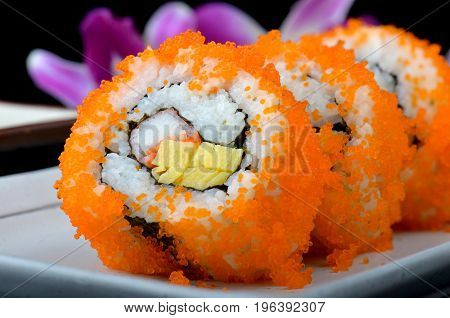 California Roll Or Japanese Sushi Roll.