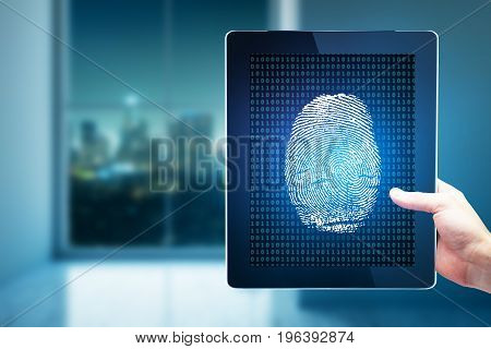 Hand holding tablet with digital fingerprint in blurry interior with night city view. Technology biometrics and innovation concept. 3D Rendering