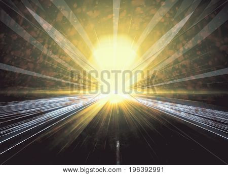 Abstract image of yellow road on blurry background. Motion concept. Double exposure