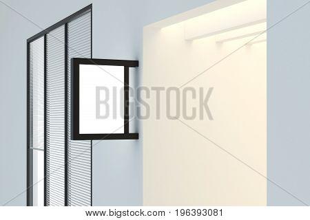 Empty rectangular stopper in concrete room. Advertisement concept. Mock up 3D Rendering