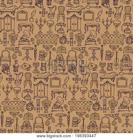 Antiques doodle hand drawn seamless pattern . Wallpaper of retro objects on beige background.