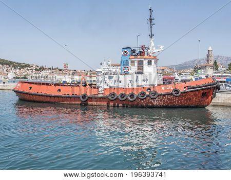 SPLIT, CROATIA - JULY 12, 2017: Sea tug on the pier in the city of Split, Croatia.