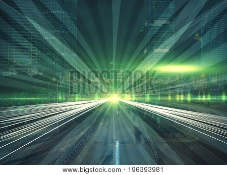 Abstract image of green road on city background. Motion concept. Double exposure