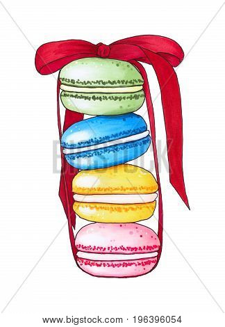Colorful Macaroons Isolated On White Background.