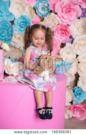 Happy Laughing Little Girl Playing With A Baby Rabbit, Hugging Her Real Bunny Pet And Learning To Ta