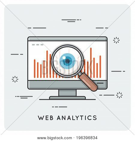 Web analytics. Thin line concept. Vector illustration