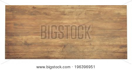 Used wooden tabletop isolated on white. Workbench view from above.