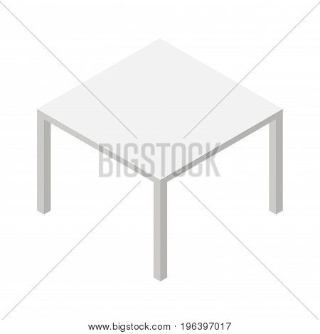 Gray isometric table isolated on a white background. Vector illustration.