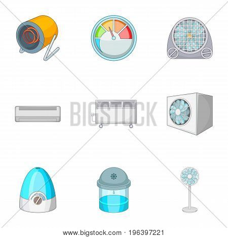 Conditioning icons set. Cartoon set of 9 conditioning vector icons for web isolated on white background