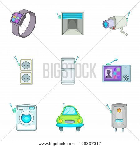 Smart home detectors icons set. Cartoon set of 9 smart home detectors vector icons for web isolated on white background
