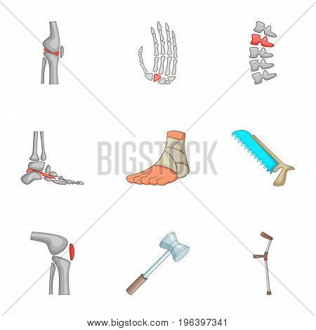 Bones trouble icons set. Cartoon set of 9 bones trouble vector icons for web isolated on white background