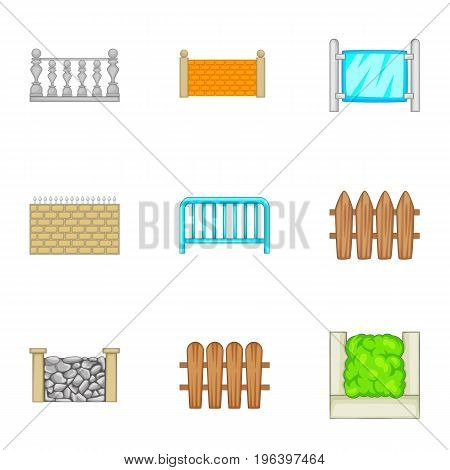 Sections of the fence icons set. Cartoon set of 9 sections of the fence vector icons for web isolated on white background