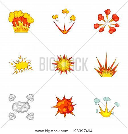 Explode animation effect icons set. Cartoon set of 9 explode animation effect vector icons for web isolated on white background