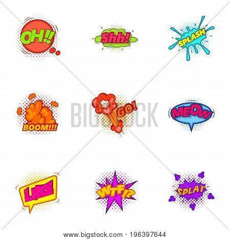 Trendy sticker for messenger icons set. Cartoon set of 9 trendy sticker for messenger vector icons for web isolated on white background