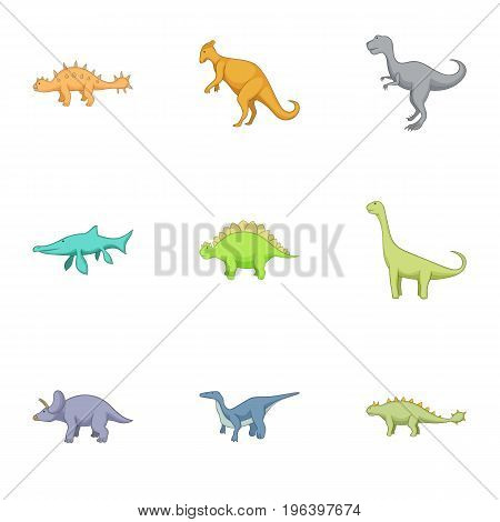 Different kinds of dinosaurs icons set. Cartoon set of 9 different kinds of dinosaurs vector icons for web isolated on white background