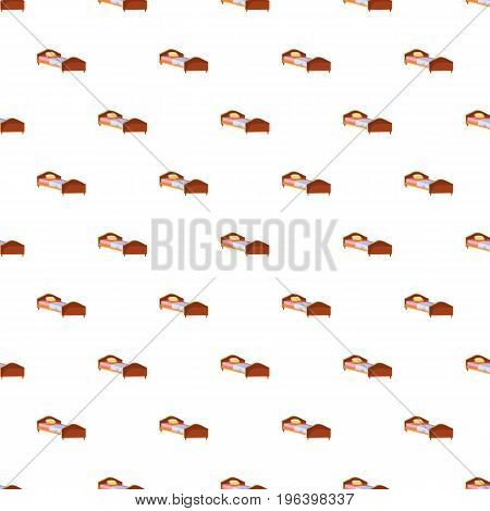 Single wooden bed pattern seamless repeat in cartoon style vector illustration