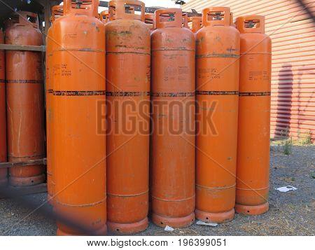 Propane Gas Bottles At Depot