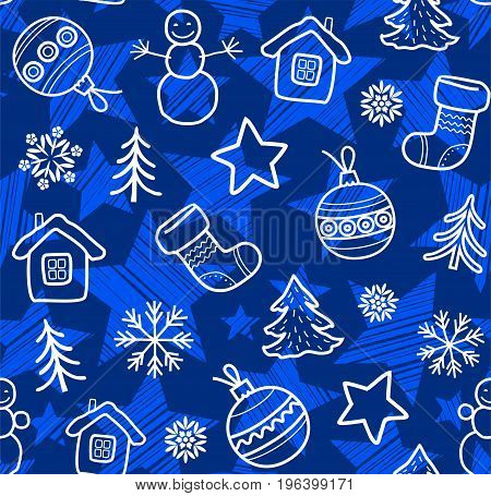 Christmas background with blue, white contour drawings, seamless, vector. Christmas balls, boots, stars and snowmen painted thin white lines on a dark blue background.