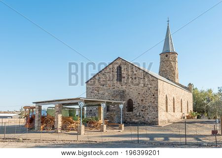 KEETMANSHOOP NAMIBIA - JUNE 13 2017: The oldest remaining building in Keetmanshoop the Rhenish Mission Church was inaugurated in 1895 and is now a museum