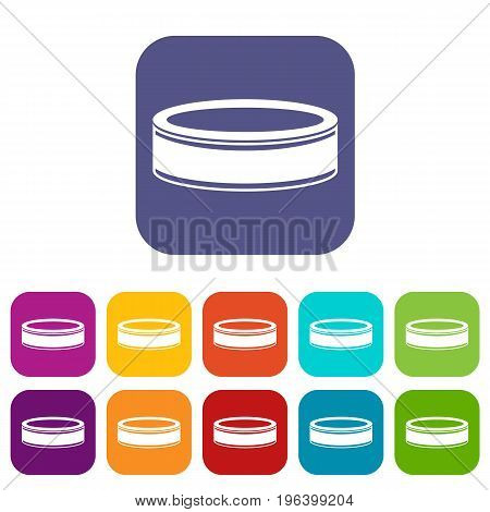 Puck icons set vector illustration in flat style in colors red, blue, green, and other