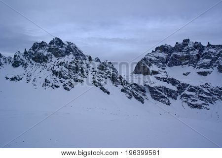 mountains in formazza during winter in italy