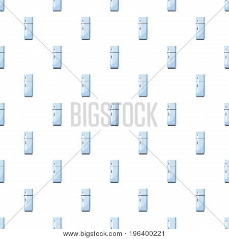 White refrigerator with separate freezer pattern seamless repeat in cartoon style vector illustration