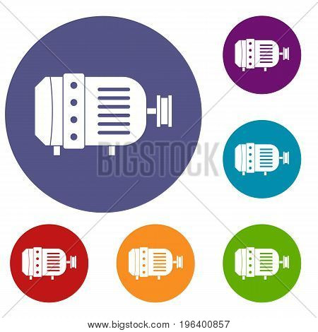 Electric motor icons set in flat circle red, blue and green color for web