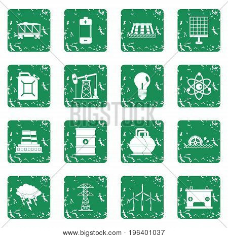 Energy sources icons set in grunge style green isolated vector illustration