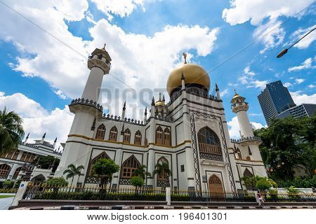 SINGAPORE - MARCH 22 2017: From the street view of Masjid Sultan at Muscat Street in Kampong Glam district of Rochor Planning Area in Singapore