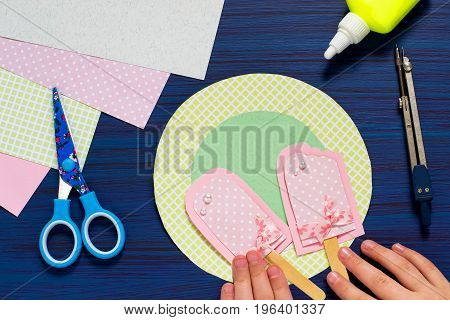Child makes card with ice cream. Summer theme. Original children's art project. DIY concept. Step-by-step photo instruction. Step 8. Completion of card design